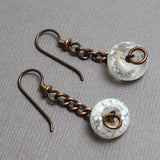 White Lampwork Bead and Copper Earrings
