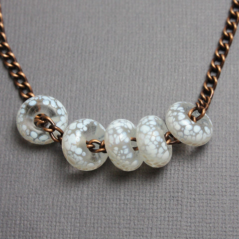 White Lampwork Bead and Copper Necklace