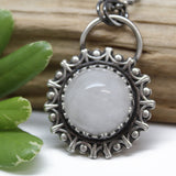 White Quartz Pendant Necklace in Sterling Silver
