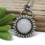 Artisan Made White Quartz Pendant Necklace in Sterling Silver