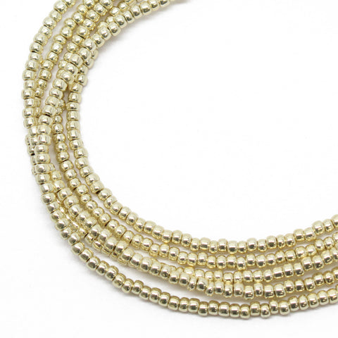 Gold Tone Seed Bead Necklace, Single Strand