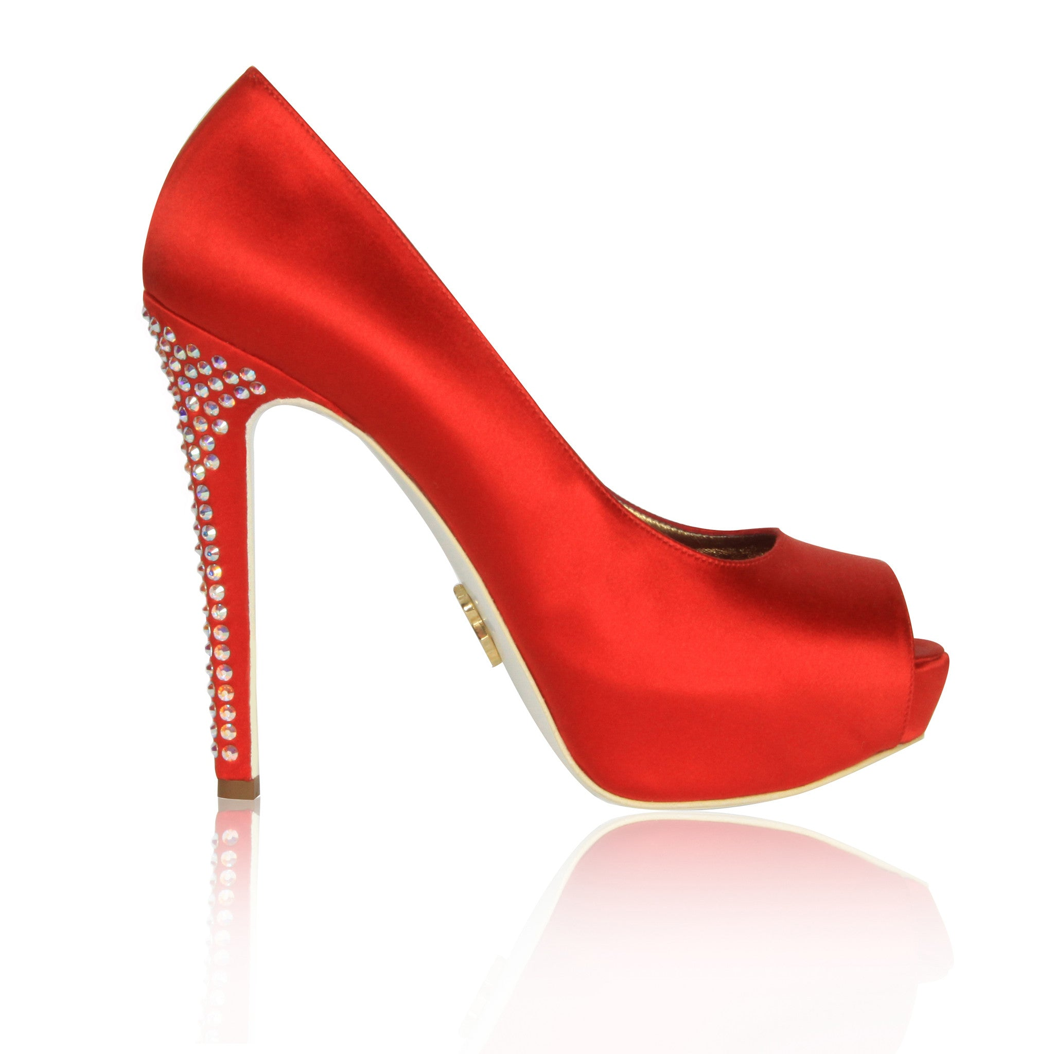 Red Krista-Lawren Satin Platform Pumps