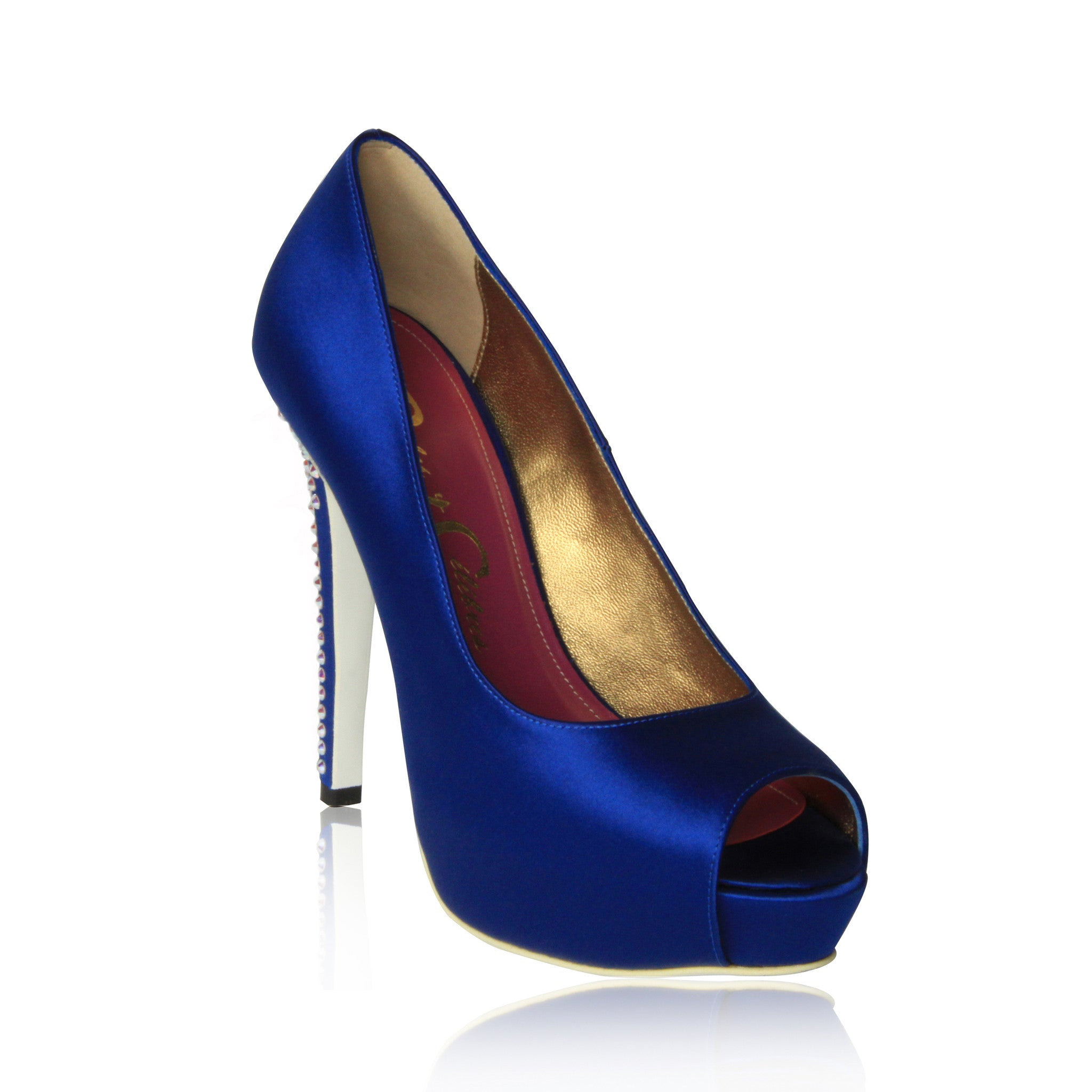 Blue Krista-Lawren Satin Platform Pumps