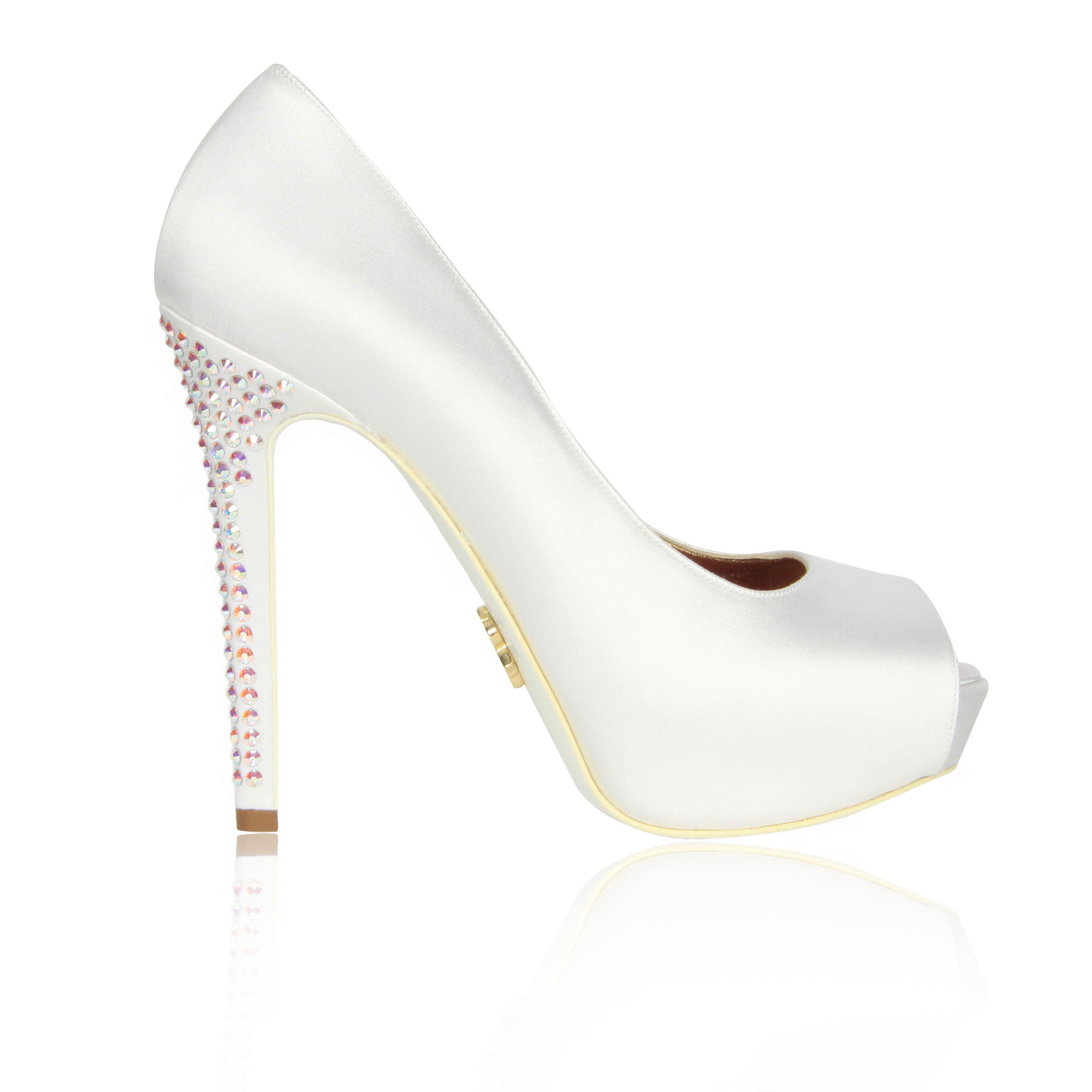 White Krista-Lawren Satin Platform Pumps