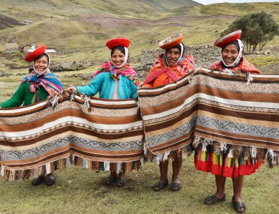Pictured from left to right - Santusa, Demesia, Francisca and Andrea - are all working mothers from the remote Andean village of Chaullacocha
