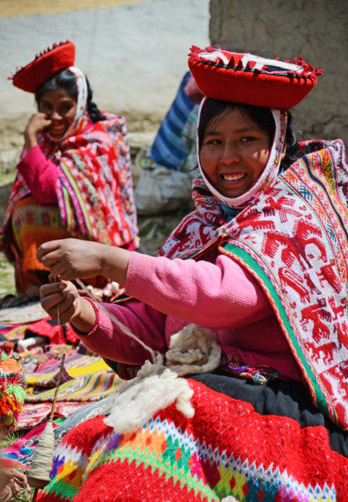 Andean woman eith threads