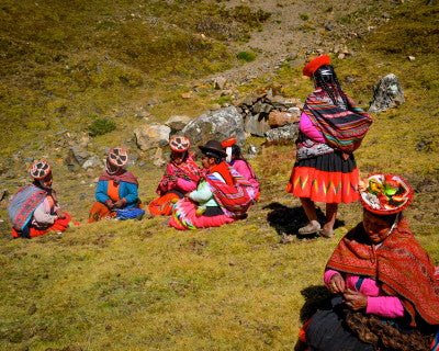 The weavers met up with the Threads of Peru team to turn in their completed products. Photo by Alexa Jones