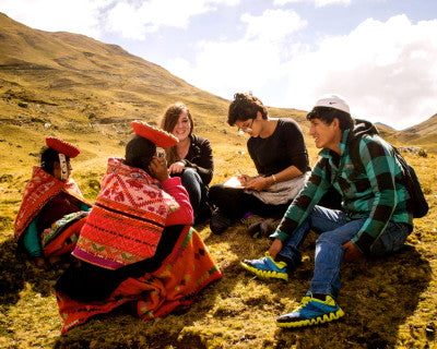 Volunteers Alexa Jones and Stephanie Pardi are accompanied by Adrian, our Quechua translator during an interview. Photo by Sarah So