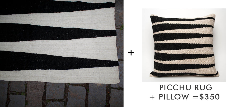 Picchu handloomed rug and throw pillow set