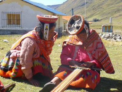 With her warp prepared, Lucia Castillo Yupanqi is most comfortable working in the open air, here with company from fellow cooperative member, Juana Rios Churata