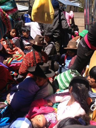 Eliane piled up in the back of a truck to make her way to the community of Parobamba