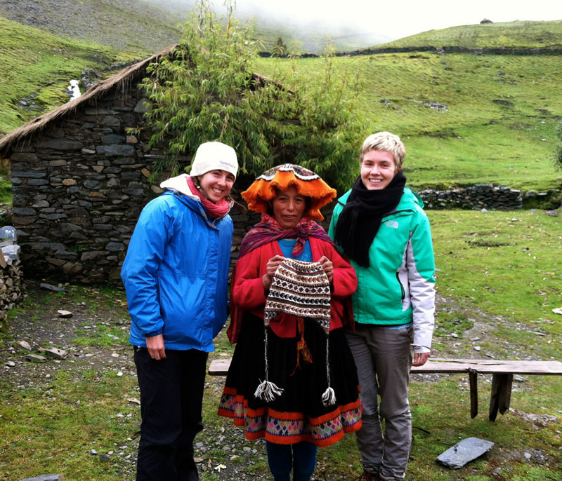 Sarah Confer and Dana happily pose with a member of the Pitukiska weaving community and the latest TOP purchase - a colorful chullo. Soon to be available online for your purchasing pleasure!