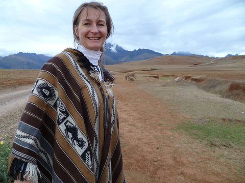 Threads of Peru Co-Founder and frequent blog author, Ariana Svenson models a poncho