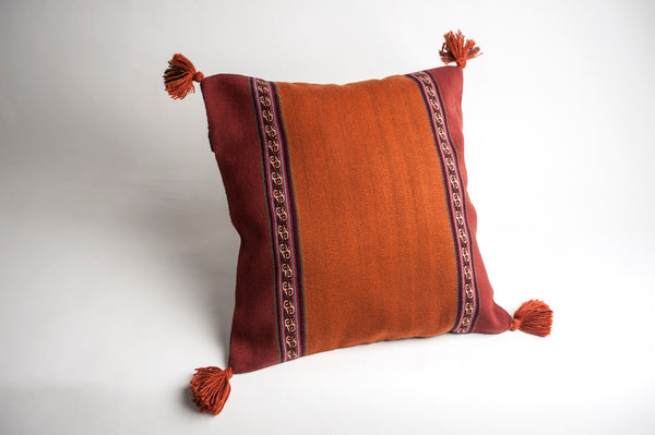 Handwoven Chinchero Wool Pillow - Sunset
