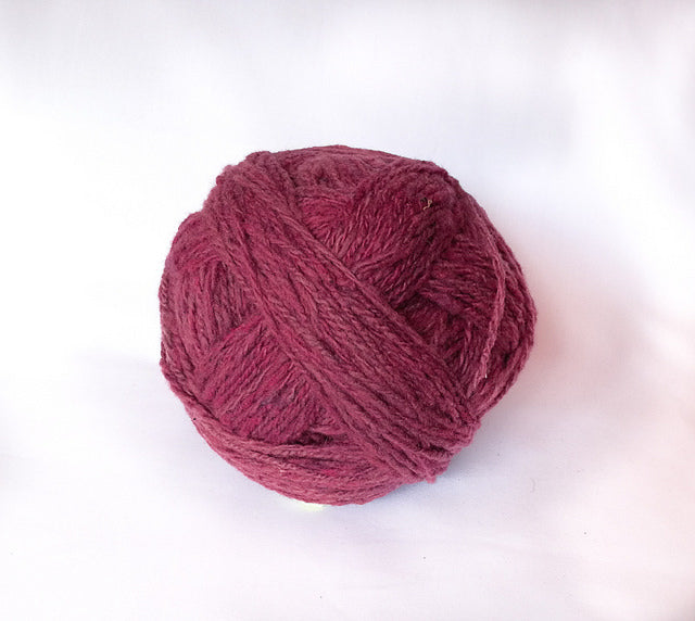 Handspun Wool Yarn in Magenta