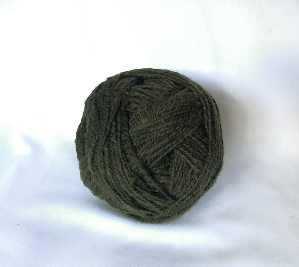 Handspun Wool Yarn in Dark Green