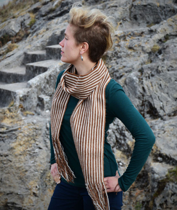 Striped Alpaca Scarf Coffee & Cream