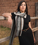 Totora Master Weaver 100% Baby Alpaca Scarf- Onyx and Charcoal