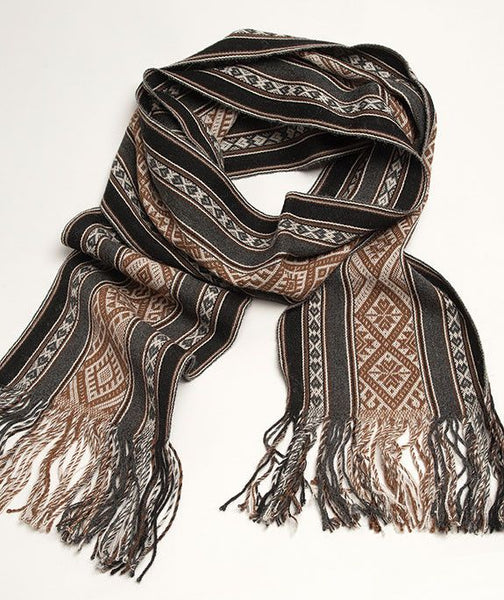 Totora Master Weaver 100% Baby Alpaca Scarf- Pewter and Onyx