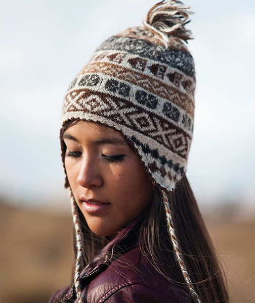 natural Andean design 100% baby alpaca chullo hat