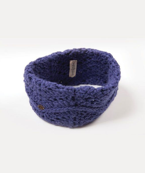 Alpaca Blend Knit Headband- Blue