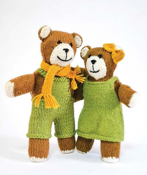 Male and Female Handknit Stuffed Bear Toys