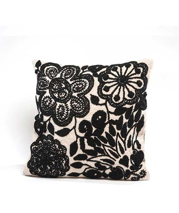 Black and White Embroidered Cushion Cover, this pillow cover is Hand woven  from 100% sheep's wool