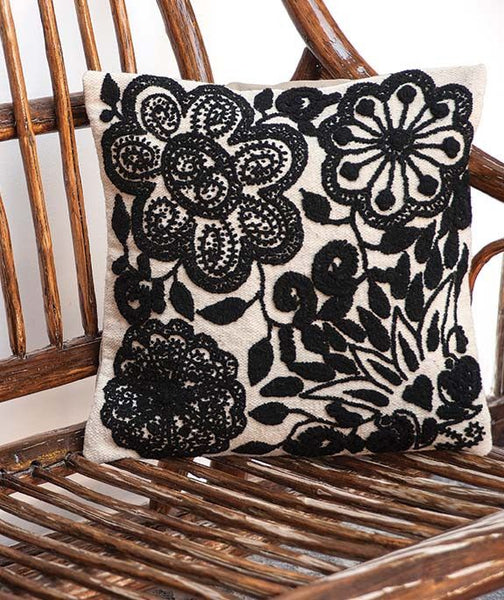 Black and White Embroidered Cushion Cover, this pillow cover  isHand woven  from 100% sheep's wool