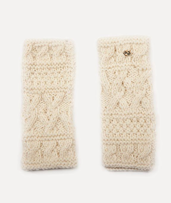 Bone White Alpaca Fingerless Gloves