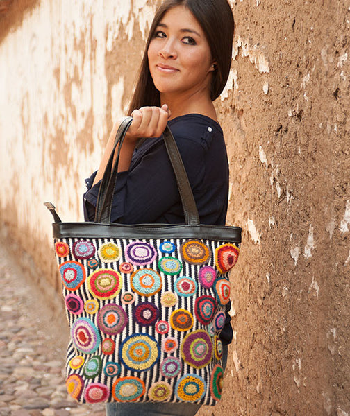 colorful bubbles and stripes Peru handbag