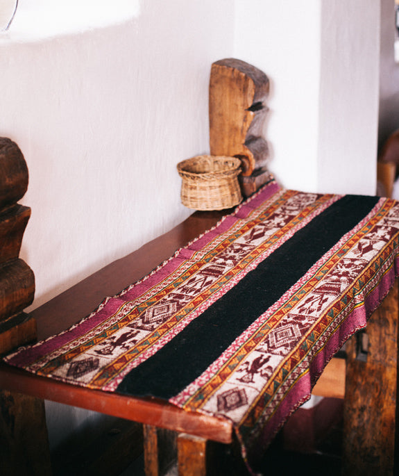 traditional woven wool table runner