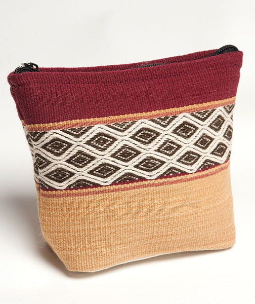 Crimson Calca Peru Hand Woven Cosmetic Pouches, Cosmetic Bag, Tribal Bag, Tribal Pouch