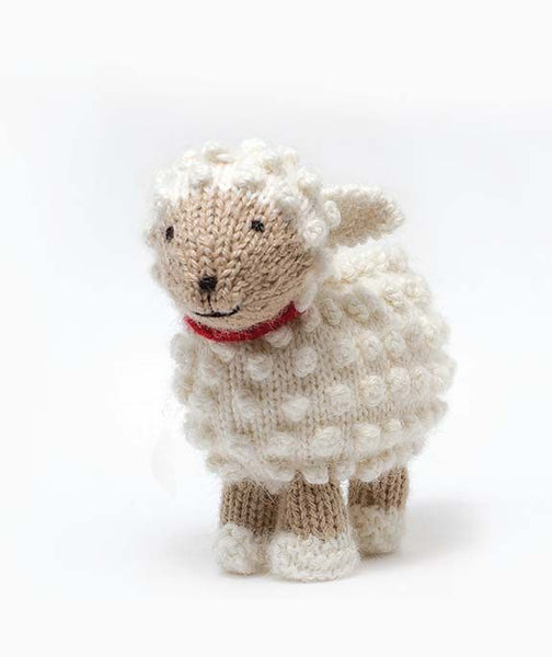 White Wool Handknit Stuffed Sheep