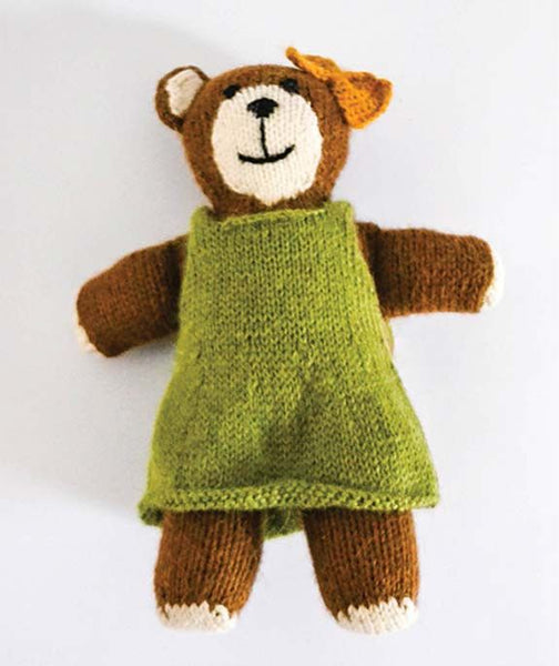 Carmen Handknit Girl Stuffed Bear Toy