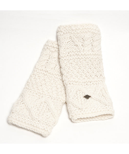 Alpaca Fingerless Work Gloves, Fairly traded from Peru,  Chunky Cable Knit, Alpaca Armwarmers - White