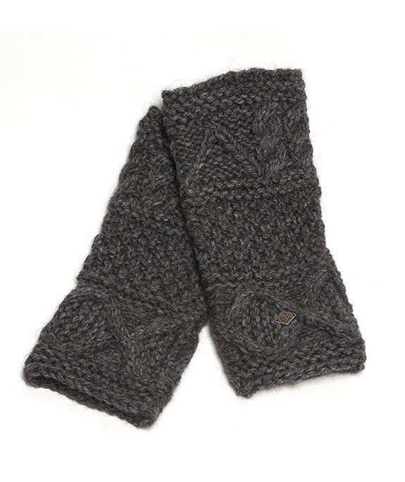 Alpaca Fingerless Work Gloves, Fairly traded from Peru,  Chunky Cable Knit, Alpaca Armwarmers – Charcoal Grey