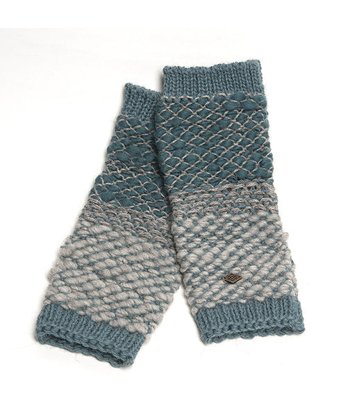 Knit Arm Warmers – traded fairly in Peru –  Fingerless Gloves, funky fibre blend Arm Warmers, Ash & Turquoise Alpaca Wool Blend