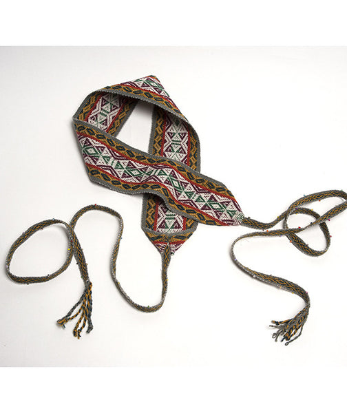Stunning Wide Belt, made from Peru textiles, known as a Wide Belt Faja,  or just Faja. Stylish Boho Wide Belt Faja,  Multicolor Grey