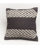 Tribal Throw Pillow – Geometric, Handwoven in charcoal and cream, Tribal design  Boho Throw Pillow,  Bohemian Throw Pillow, Cushion Cover