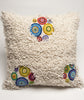 Stunning Boho Pillow Case with 3 small clusters of colorful Bubbles, Bohemian Throw Pillow, White and Colored Boho Pillow.