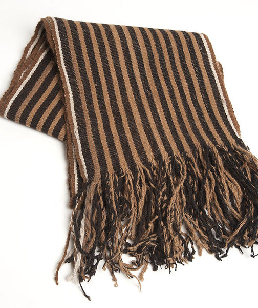 Striped Alpaca Scarf Chestnut & Chocolate