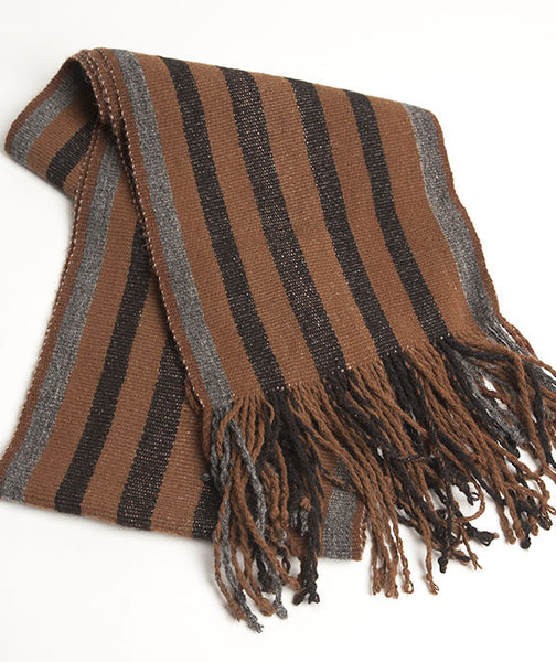 Wide Striped Alpaca Scarf Chocolate & Coffee