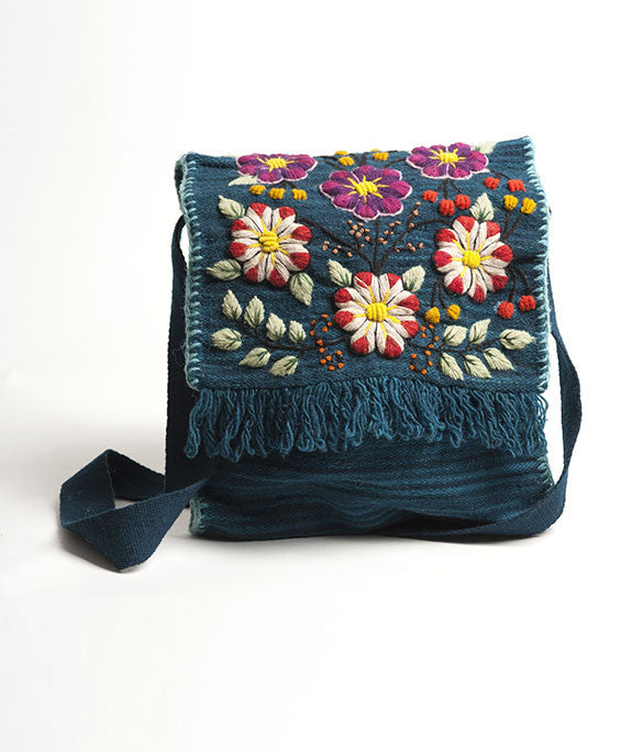 Wool Cross-Body Satchel Turquoise