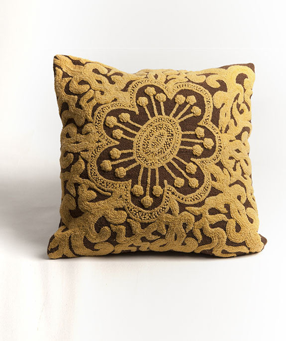 Wool Cushion Cover Chestnut & Marigold