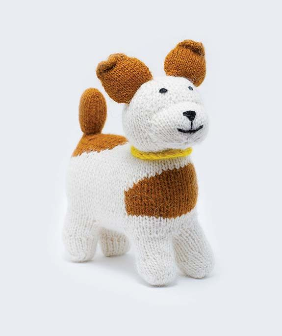 Stuffed Wool Handknit White and Brown Dog Toy