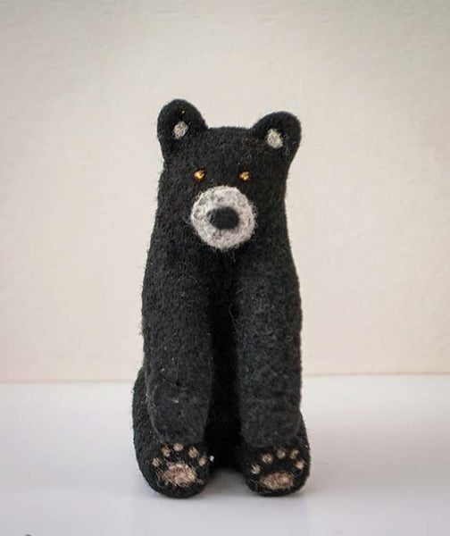 Black Felt Stuffed Bear Toy - white muzzle