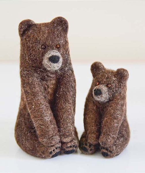 Wool Grizzly Bear Felt Toys (Mother and Cub)