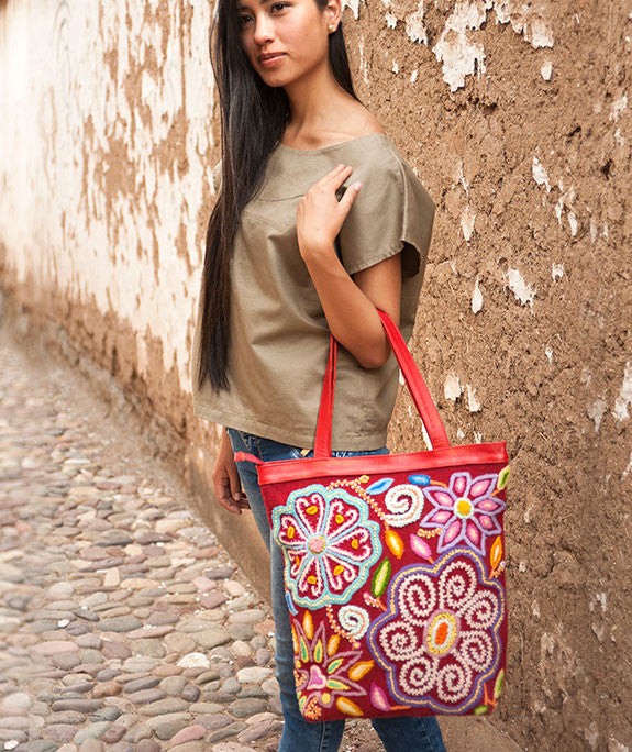 Embroidered Flowers on Rust Red Tote Bag,  Peru Handbag