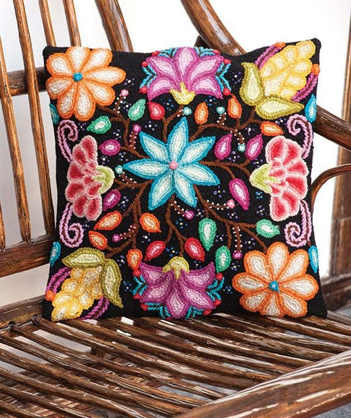 100% Wool Fair Trade Colorful Summer Flowers Embroidered Cushion Cover