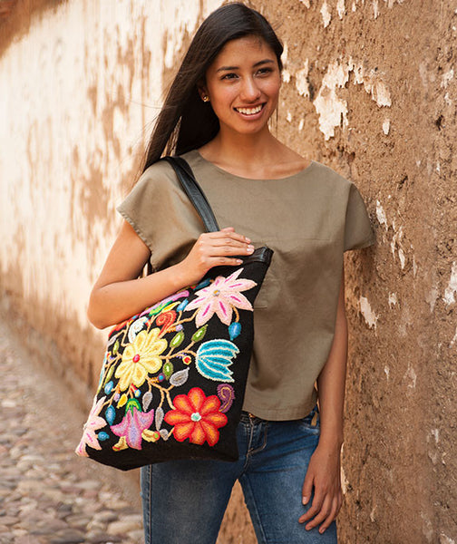 Colorful Enbroidered Flowers on Black Tote Bag